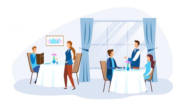 Еда людей персонажи и персонал ресторана Premium векторы