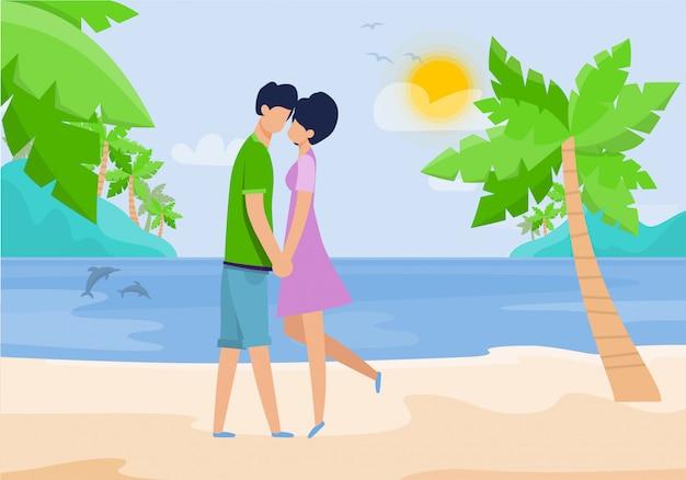 熱帯のビーチでロマンチックなデートに愛のカップル Premiumベクター