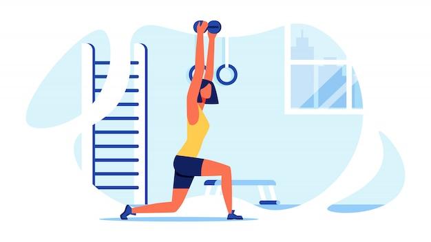 Спортивная тренировка для женщин. мускулистое тело вектор. Premium векторы