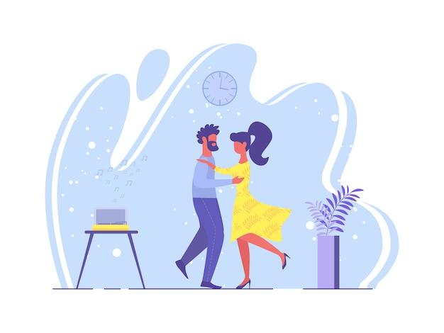 明るいポスター愛するカップルダンス漫画フラット。 Premiumベクター