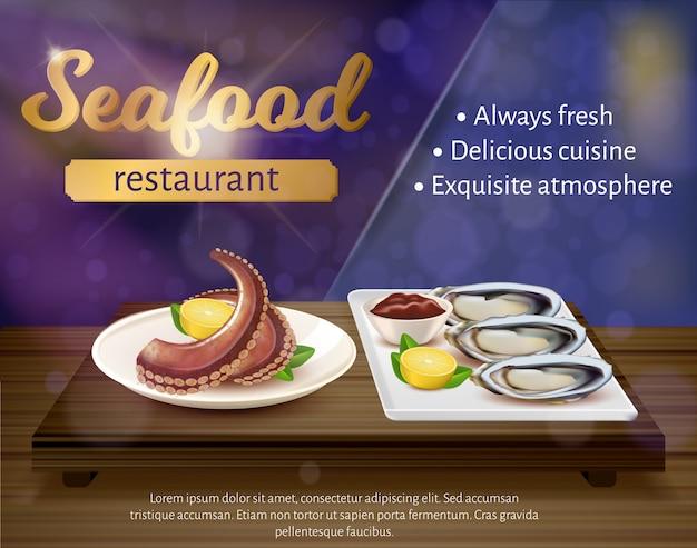 シーフードレストランバナー、新鮮なタコ、ムール貝 Premiumベクター