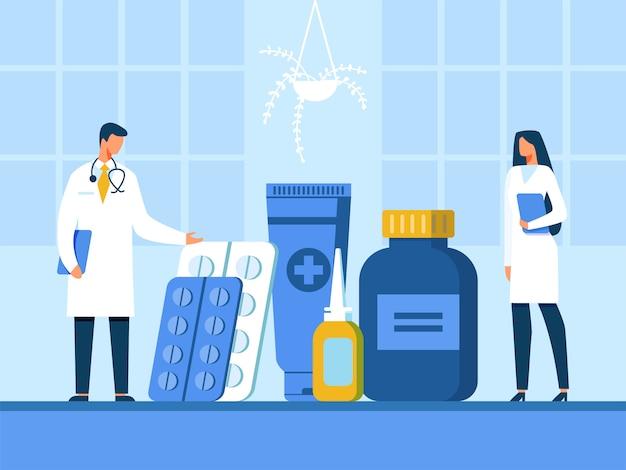 医師や看護師が新薬のイラストを提示 Premiumベクター