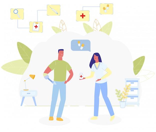 女性看護師は薬の男性義足を与える Premiumベクター