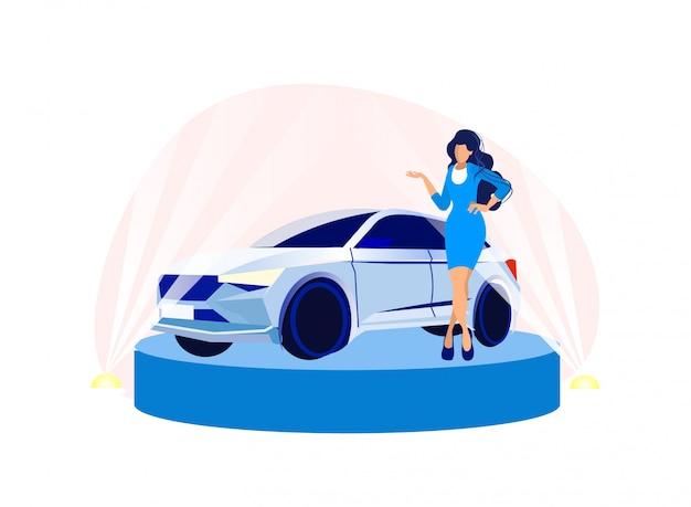 Красивая женщина представляет модель автосалона Premium векторы