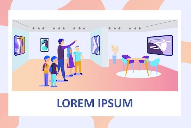Плакат со школьным учителем и детьми в художественной галерее Premium векторы