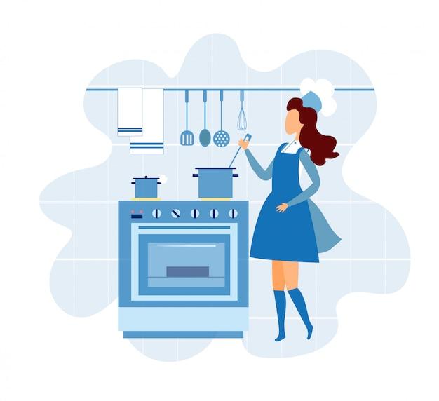 Молодая женщина в форме шеф-повара готовит на кухне Premium векторы