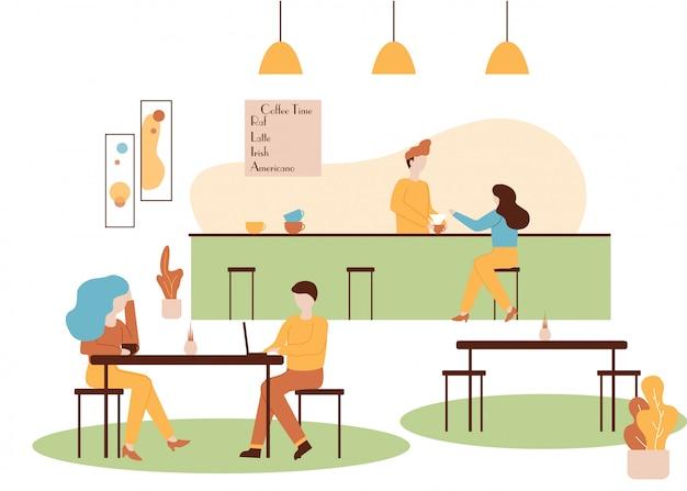 コーヒーハウスのインテリアバリスタは、女性が飲み物を作る Premiumベクター