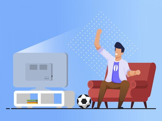 Яркий баннер, смотреть футбольный матч мультфильм Premium векторы