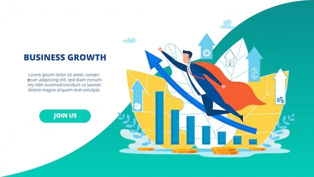 広告チラシビジネス成長のランディングページ Premiumベクター