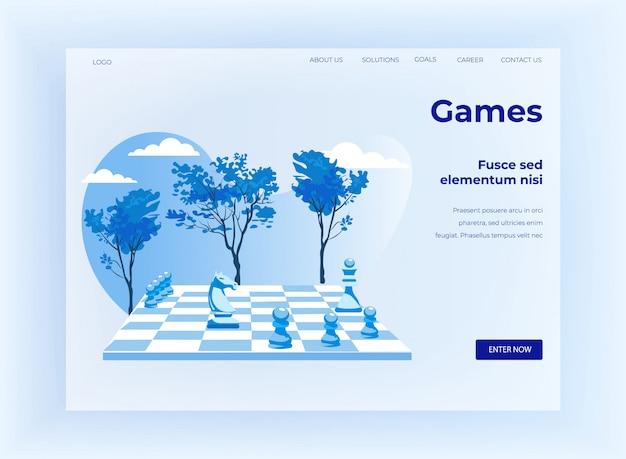 戦略的なチェスゲームの漫画のランディングページ Premiumベクター