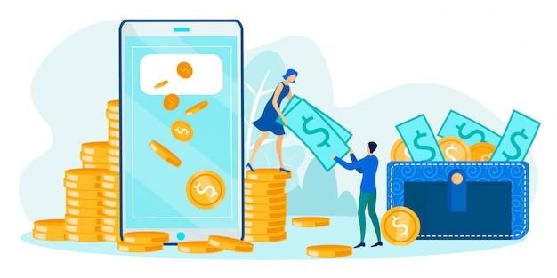 Оплата онлайн, денежный перевод и транзакция Premium векторы