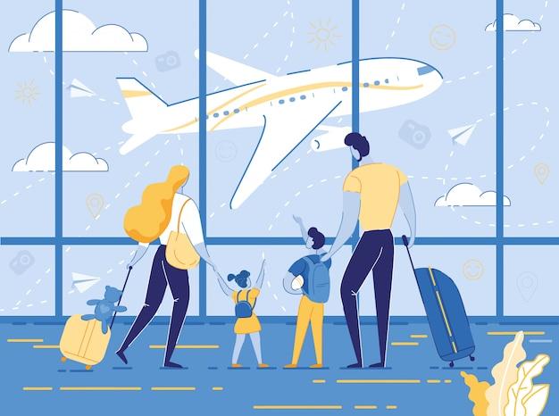 Счастливое семейное путешествие с детьми, родителями и детьми Premium векторы