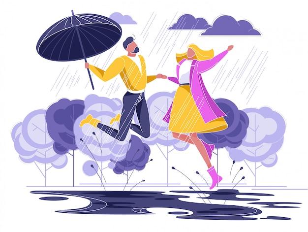 Влюбленная пара бежит под дождем с зонтиком Premium векторы