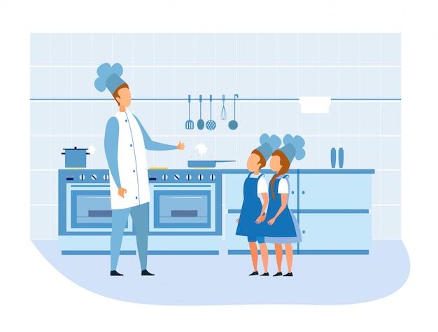 クックシェフがキッチンで制服を着た子供たちを称賛 Premiumベクター