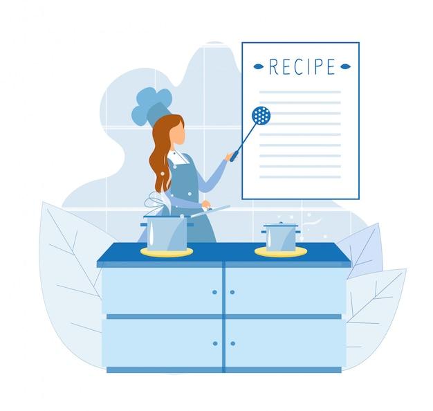 Шеф-повар использует рецепт для приготовления пищи на кулинарных курсах Premium векторы