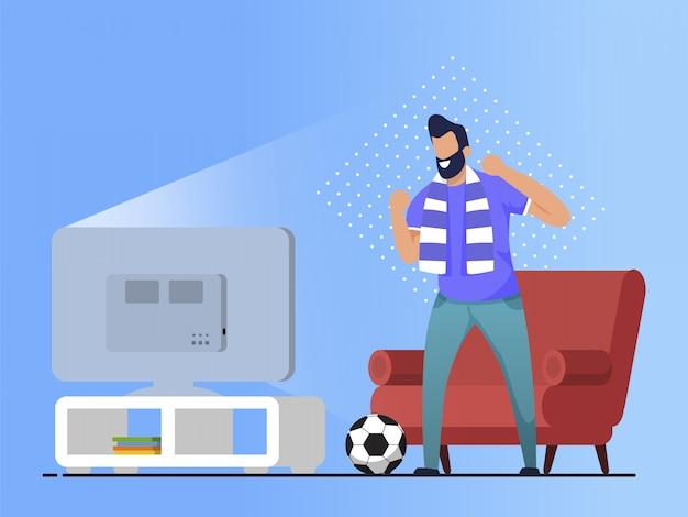 Информационный флаер смотреть футбол дома. Premium векторы