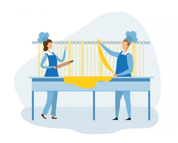 女性シェフと男性シェフがパスタを作るために生地をこねます Premiumベクター