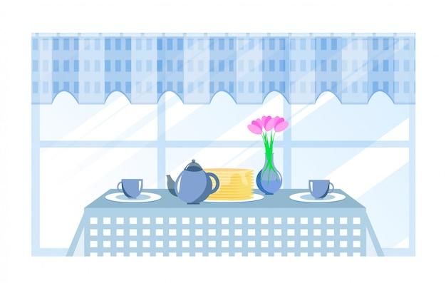 朝食の漫画テーブル Premiumベクター