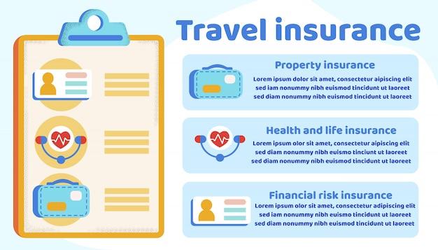 旅行保険に関するインフォグラフィック情報 Premiumベクター
