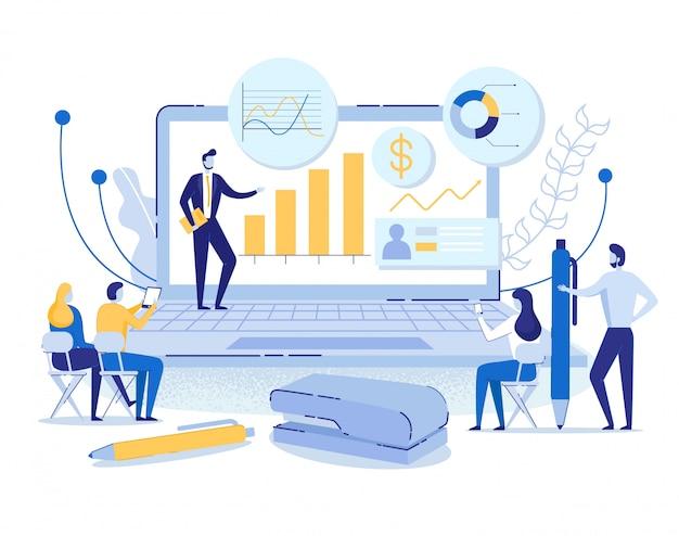 Онлайн концепция, человек ведет презентацию на ноутбуке Premium векторы