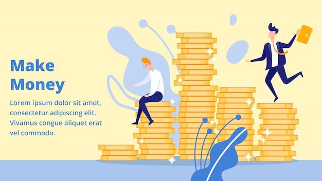 コインパイルランディングページに座ってお金を稼ぐ実業家 Premiumベクター