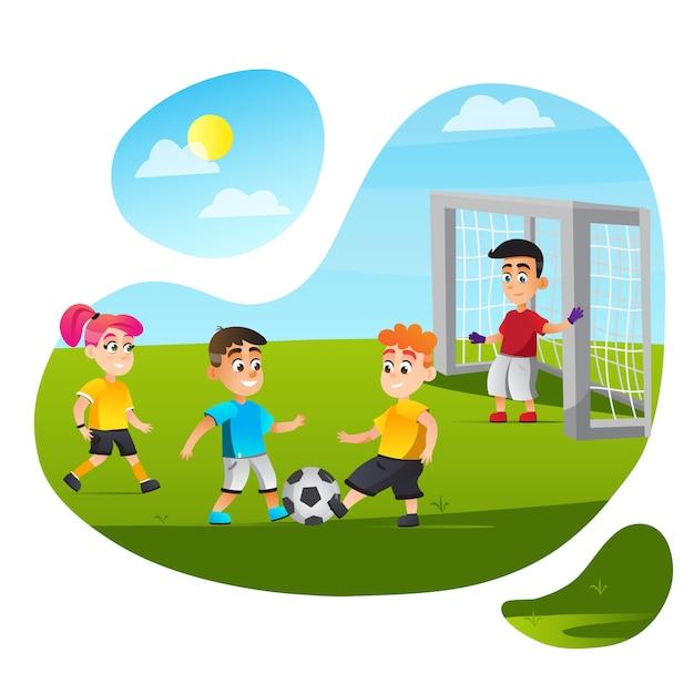 Мультяшные дети играют в футбол на траве поля Premium векторы
