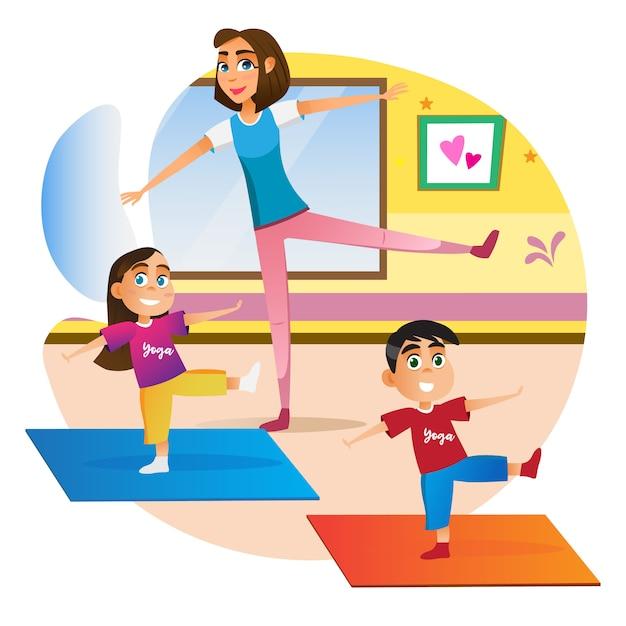 マットで運動をしている子供を持つ漫画母 Premiumベクター