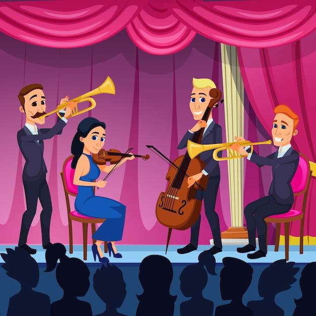 ブライトバナーオーケストラクラシック音楽漫画。 Premiumベクター