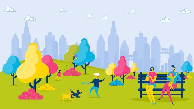 都市公園の漫画家族の子供たちは、レジャーをリラックスします。 Premiumベクター