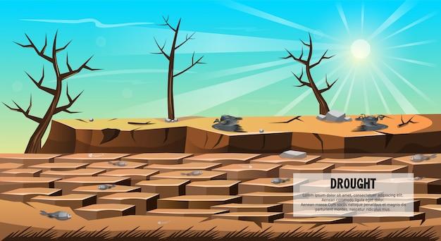 干ばつ自然災害、土壌割れバナー。 Premiumベクター