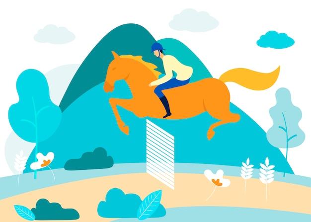 Человек занимается конным спортом в лесу. вектор Premium векторы