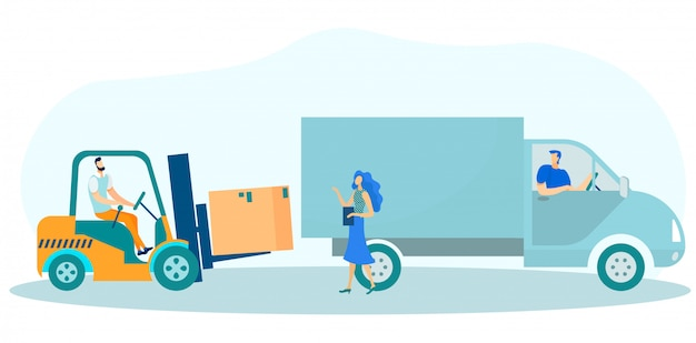 Доставка коробок в грузовик и проверка погрузки. Premium векторы