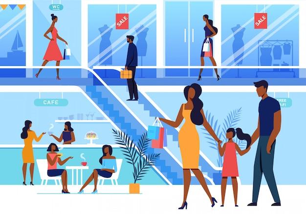 ショッピングセンター訪問フラットベクトル図 Premiumベクター