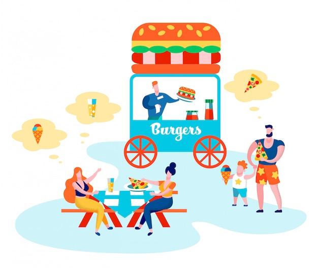 公共の場で親と子を食べる人々 Premiumベクター