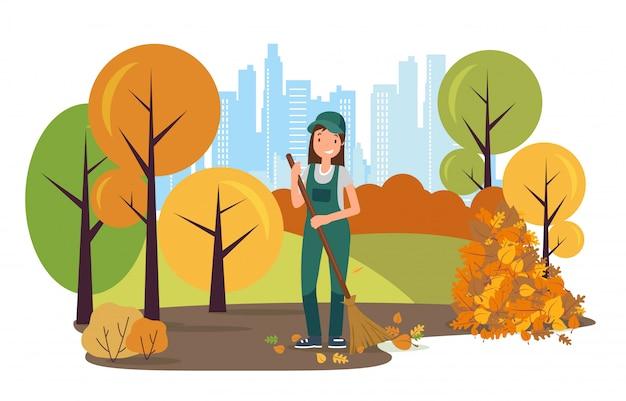 Уличный уборщик характер подметать листья в парке. Premium векторы