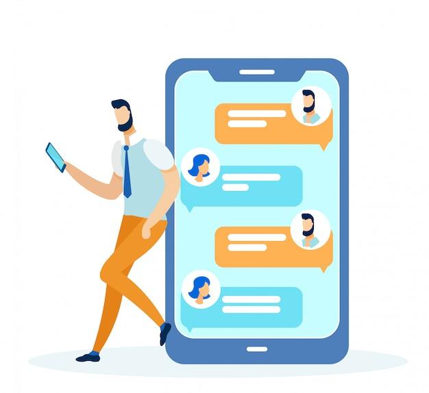 Социальные медиа и сети, телефон с сообщениями. Premium векторы