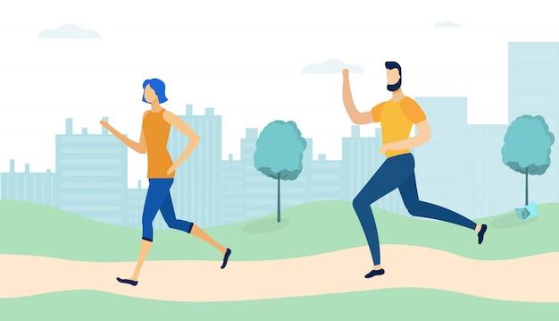 公園で走り回るカップル、朝のジョギング、 Premiumベクター