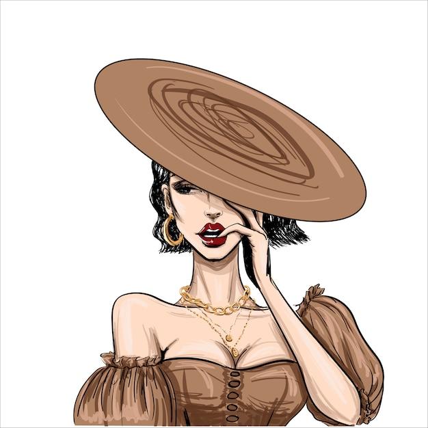 Мода чувственная женщина в плоской коричневой шляпе Premium векторы
