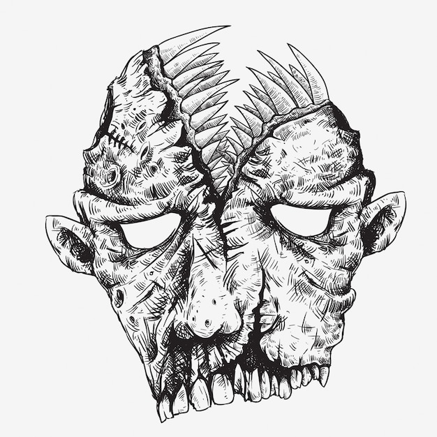 Голова зомби с большим ртом на верхней руке рисунок Premium векторы