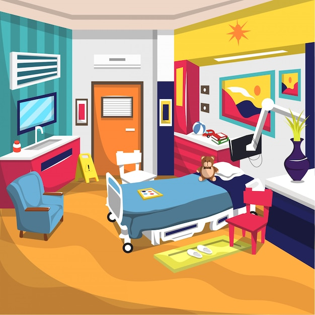 キッズホスピタル入院リハビリルーム Premiumベクター