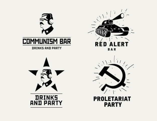 共産主義のスタイルのロゴレストランバーデザインのベクトルテンプレート Premiumベクター
