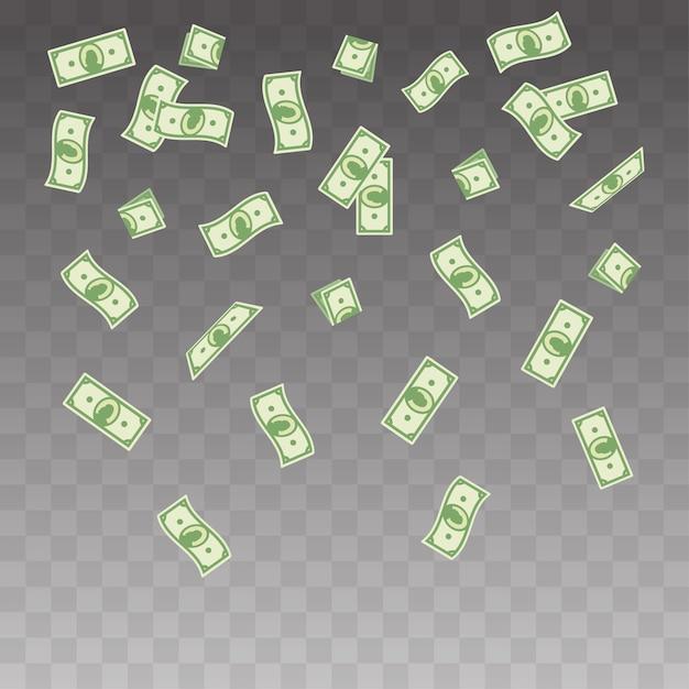 Бумажные деньги, падающие на прозрачный фон Premium векторы