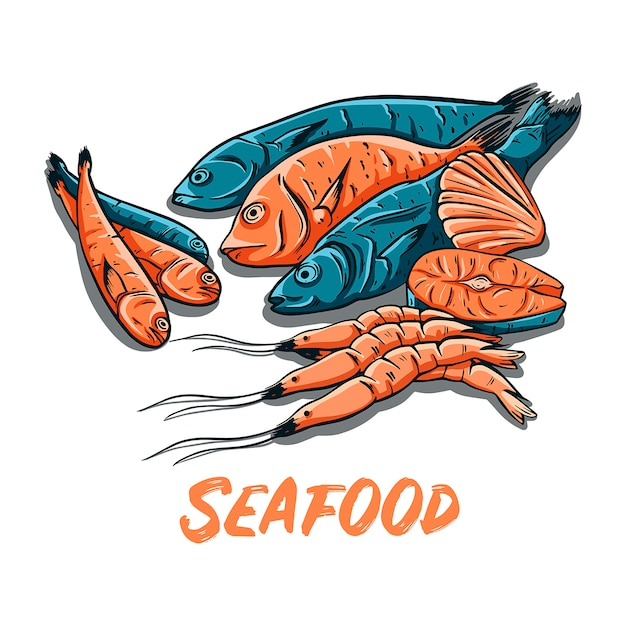 Ручной обращается цвет морепродуктов. рыба, креветки и устрицы векторные иллюстрации. Premium векторы