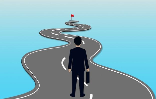 Бизнесмены идут по извилистой дороге Premium векторы