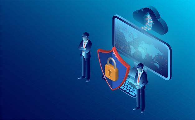 データセキュリティの概念とプライバシー保護バナー Premiumベクター