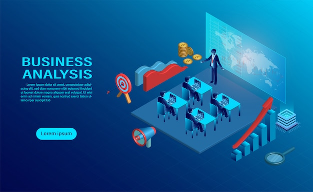 Концепция бизнес-анализа с характером. Premium векторы