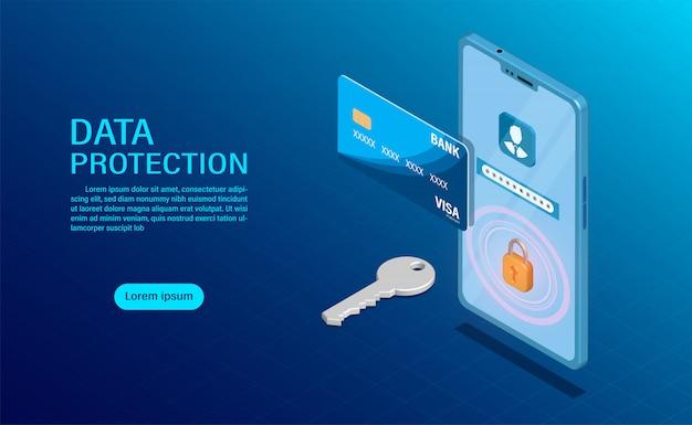 データ保護の概念高いセキュリティでデータファイナンスと機密性を保護します。 Premiumベクター