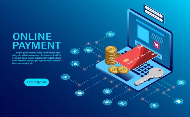 コンピューターによるオンライン支払い。ノートパソコン取引のお金の保護。 Premiumベクター