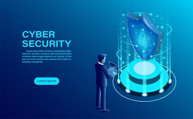 ビジネスマンとサイバーセキュリティの概念は、シールドとロックのアイコンでデータと機密性とデータプライバシー保護の概念を保護します。 Premiumベクター