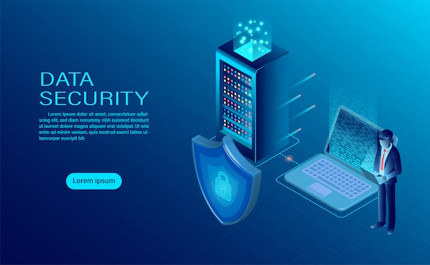 ビジネスマンは、コンピューターとサーバー上のデータと機密性を保護します。データの保護とセキュリティは機密です。 Premiumベクター
